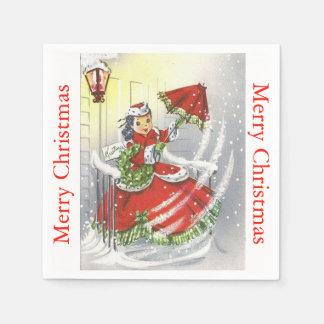Vintage Little Miss Christmas Napkin