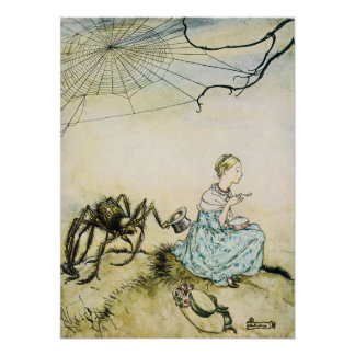 Vintage Little Miss Muffet by Arthur Rackham Poster