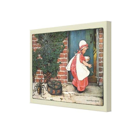 Vintage Little Miss Muffet Spider Nursery Rhyme Canvas Print