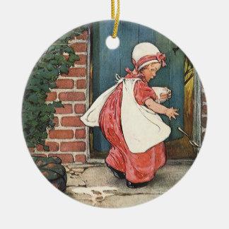 Vintage Little Miss Muffet Spider Nursery Rhyme Ceramic Ornament