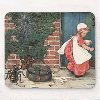Vintage Little Miss Muffet Spider Nursery Rhyme Mouse Pad