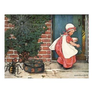 Vintage Little Miss Muffet Spider Nursery Rhyme Postcard