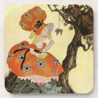 Vintage Little Miss Muffet w Spider Nursery Rhyme Drink Coaster