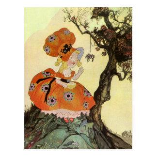 Vintage Little Miss Muffet w Spider Nursery Rhyme Postcards