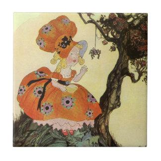 Vintage Little Miss Muffet w Spider Nursery Rhyme Tile