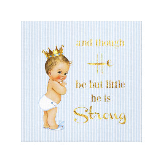 Vintage Little Prince Baby Boy Gold Crown Quote Canvas Print
