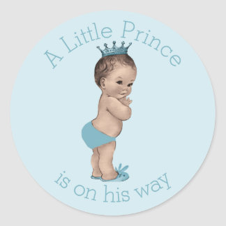 Vintage Little Prince Baby Shower Blue Classic Round Sticker