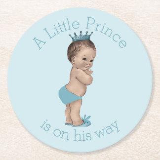 Vintage Little Prince Baby Shower Blue Round Paper Coaster