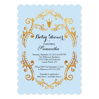 vintage little prince baby shower invitation