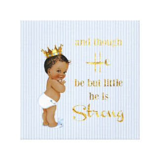 Vintage Little Prince Ethnic Baby Gold Crown Quote Canvas Print