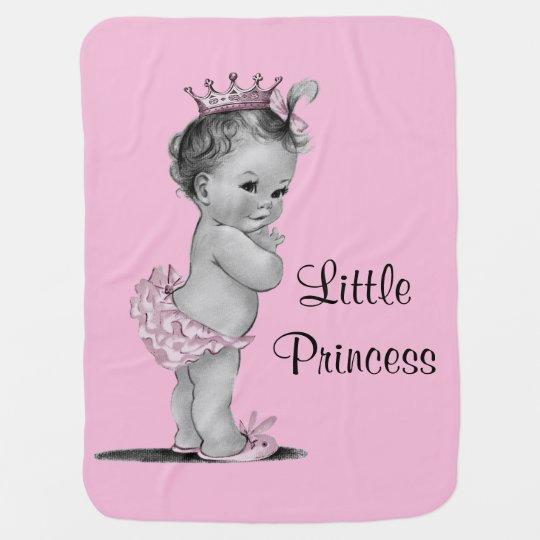 Vintage Little Princess Baby Pink Receiving Blanket