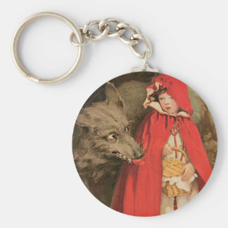 Vintage Little Red Riding Hood and Big Bad Wolf Basic Round Button Keychain