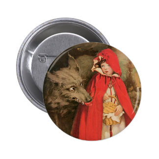 Vintage Little Red Riding Hood and Big Bad Wolf Button