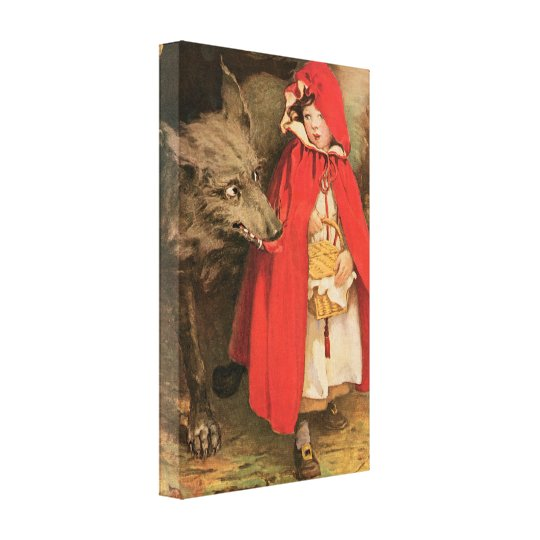 Vintage Little Red Riding Hood and Big Bad Wolf Canvas Print