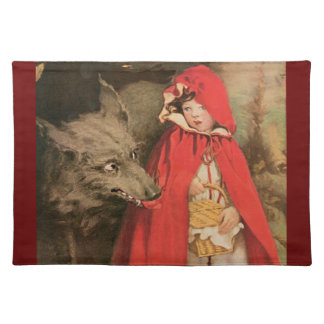 Vintage Little Red Riding Hood and Big Bad Wolf Cloth Placemat