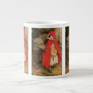 Vintage Little Red Riding Hood and Big Bad Wolf Giant Coffee Mug