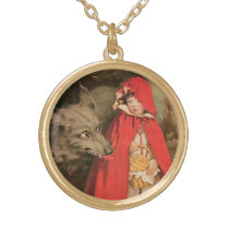 Vintage Little Red Riding Hood and Big Bad Wolf Gold Finish Necklace