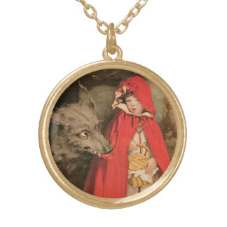 Vintage Little Red Riding Hood and Big Bad Wolf Gold Plated Necklace
