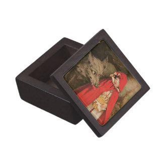 Vintage Little Red Riding Hood and Big Bad Wolf Jewelry Box
