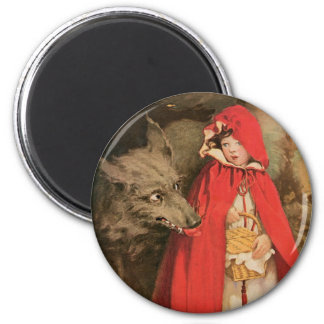 Vintage Little Red Riding Hood and Big Bad Wolf Magnet