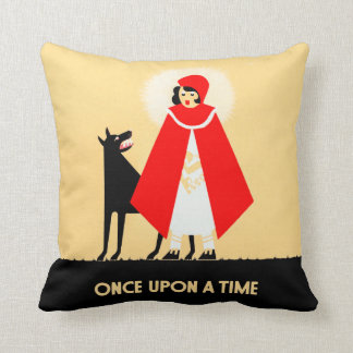 Vintage Little Red Riding Hood And Big Bad Wolf Pillow