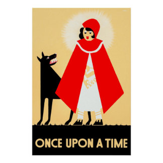 Vintage Little Red Riding Hood And Big Bad Wolf Poster