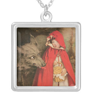 Vintage Little Red Riding Hood and Big Bad Wolf Silver Plated Necklace