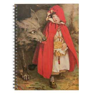 Vintage Little Red Riding Hood and Big Bad Wolf Spiral Notebook