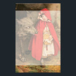 """Vintage Little Red Riding Hood and Big Bad Wolf Stationery<br><div class=""""desc"""">Vintage illustration classic children&#39;s fairy tale story book image by famous illustrator Jessie Willcox Smith. Little Red Riding Hood is a young girl on her way to her grandmother&#39;s house with a basket full of baked goodies when the scary big bad wolf meets her in the forest.</div>"""