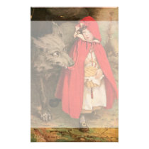 Vintage Little Red Riding Hood and Big Bad Wolf Stationery