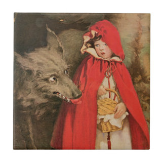 Vintage Little Red Riding Hood and Big Bad Wolf Tile