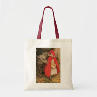 Vintage Little Red Riding Hood and Big Bad Wolf Tote Bag