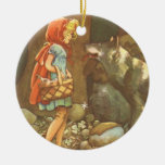 Vintage Little Red Riding Hood and Wolf in Forest Ornaments