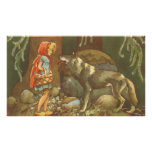 Vintage Little Red Riding Hood and Wolf in Forest Poster