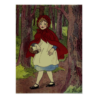 Vintage Little Red Riding hood book art Poster