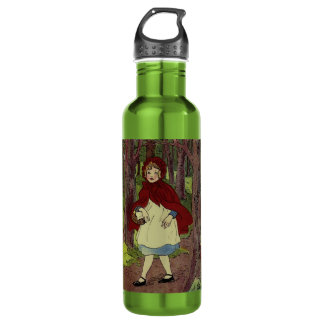 Vintage Little Red Riding hood book art Stainless Steel Water Bottle
