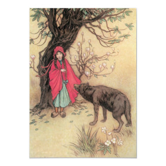 Vintage Little Red Riding Hood by Warwick Goble Card