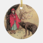 Vintage Little Red Riding Hood by Warwick Goble Ceramic Ornament