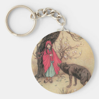 Vintage Little Red Riding Hood by Warwick Goble Keychain