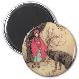 Vintage Little Red Riding Hood by Warwick Goble Magnet