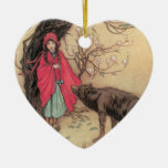 Vintage Little Red Riding Hood by Warwick Goble Christmas Tree Ornament