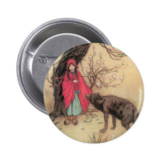 Vintage Little Red Riding Hood by Warwick Goble Pinback Button