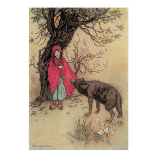 Vintage Little Red Riding Hood by Warwick Goble Poster