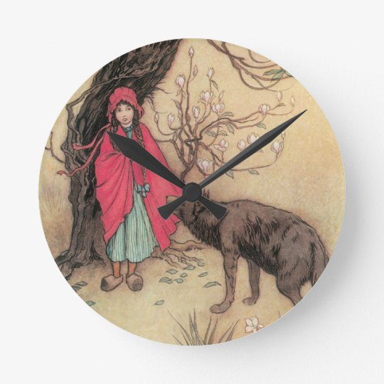 Vintage Little Red Riding Hood by Warwick Goble Round Clock