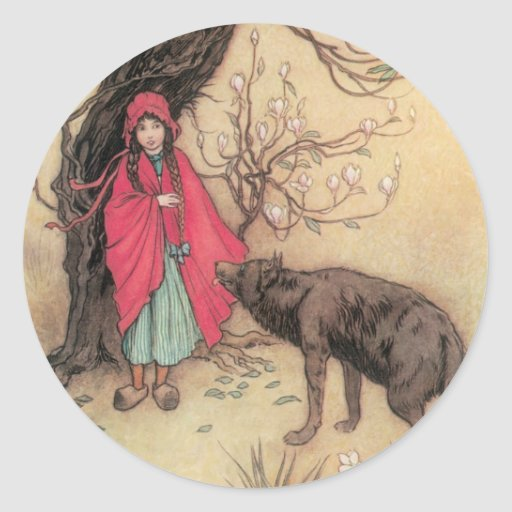 Vintage Little Red Riding Hood by Warwick Goble Classic Round Sticker