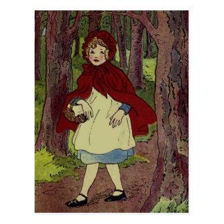 Vintage Little Red Riding hood Illustration Postcard