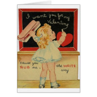 Vintage Little Teacher Valentine's Day Card