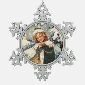 Vintage Little Victorian Girl Snowflake Ornament