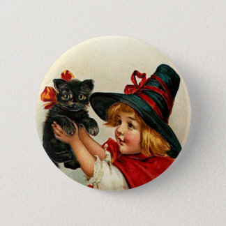 Vintage Little Witch and Black Cat Button