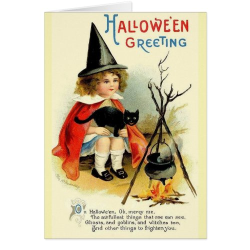 Vintage Little Witch and Black Cat Halloween Card